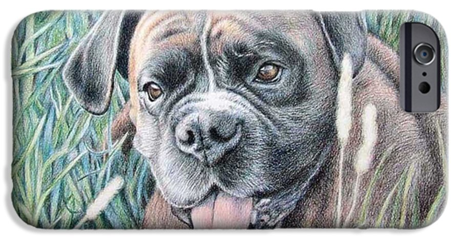 Dog IPhone 6 Case featuring the drawing Boxer Yosi by Nicole Zeug