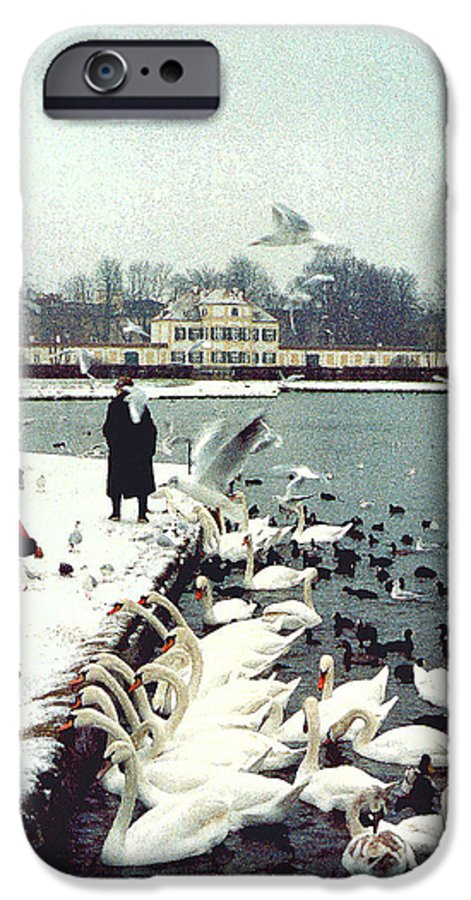 Swans IPhone 6 Case featuring the photograph Boy Feeding Swans- Germany by Nancy Mueller