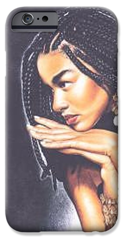Woman W/folded Hands IPhone 6 Case featuring the drawing Braided Beauty by Charlene Cooper