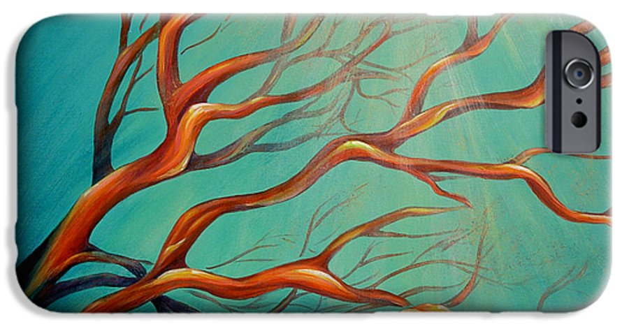 Coral Sea Ocean Underwater Beach Aquatic Reef Diving Contemporary Close-up Aquatica Series IPhone 6 Case featuring the painting Branching Out by Dina Dargo