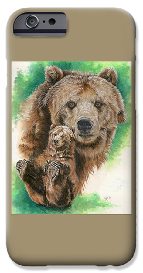 Bear IPhone 6 Case featuring the mixed media Brawny by Barbara Keith