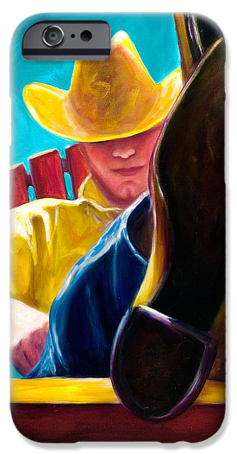 Western IPhone 6 Case featuring the painting Break Time by Shannon Grissom