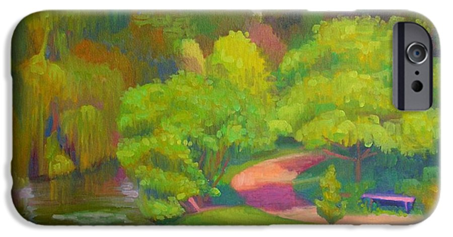 Landscape IPhone 6 Case featuring the painting Bright Hazy Day Chicago Botanical Gardens by David Dozier