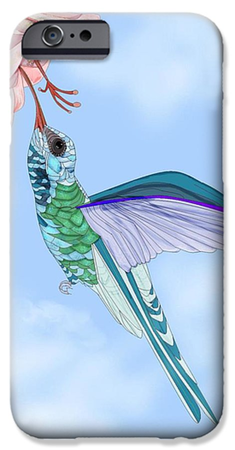 Hummingbird IPhone 6 Case featuring the painting Broadbilled Hummer by Anne Norskog