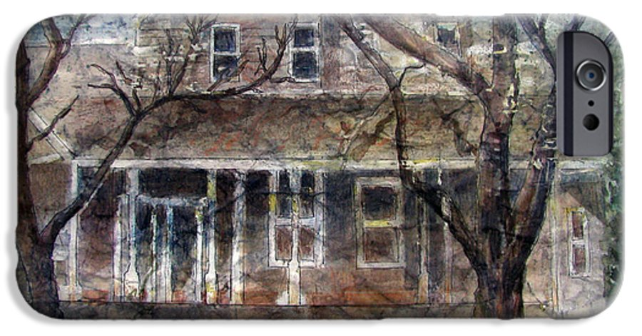 House IPhone 6 Case featuring the mixed media Brown Batik House by Arline Wagner