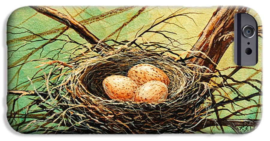 Wildlife IPhone 6 Case featuring the painting Brown Speckled Eggs by Frank Wilson