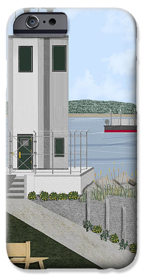 Lighthouse IPhone 6 Case featuring the painting Browns Point Lighthouse On Commencement Bay by Anne Norskog