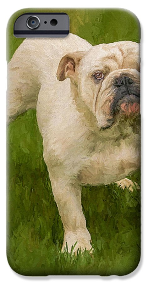 Dog IPhone 6 Case featuring the painting Bruce The Bulldog by David Wagner