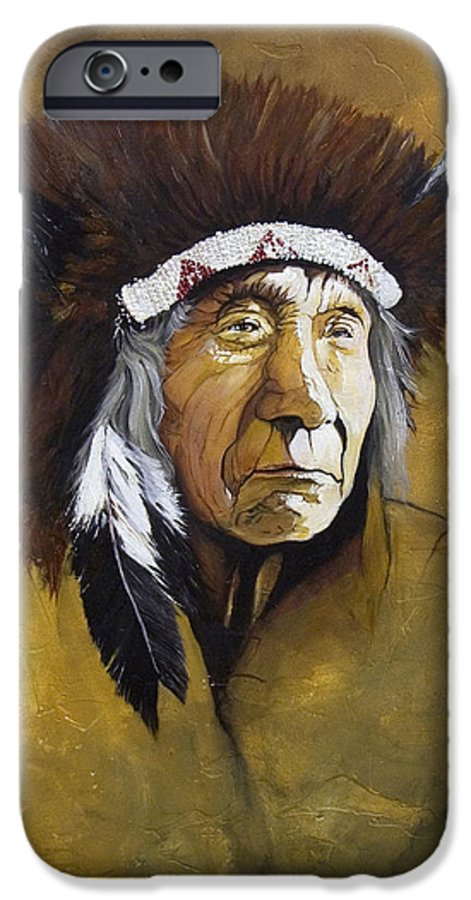 Shaman IPhone 6 Case featuring the painting Buffalo Shaman by J W Baker