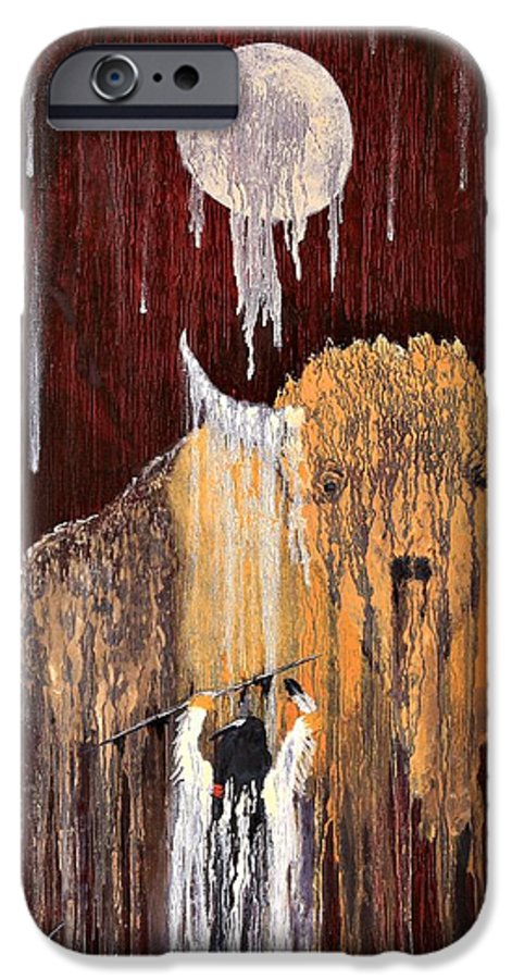 Native Art IPhone 6 Case featuring the painting Buffalo Spirit by Patrick Trotter