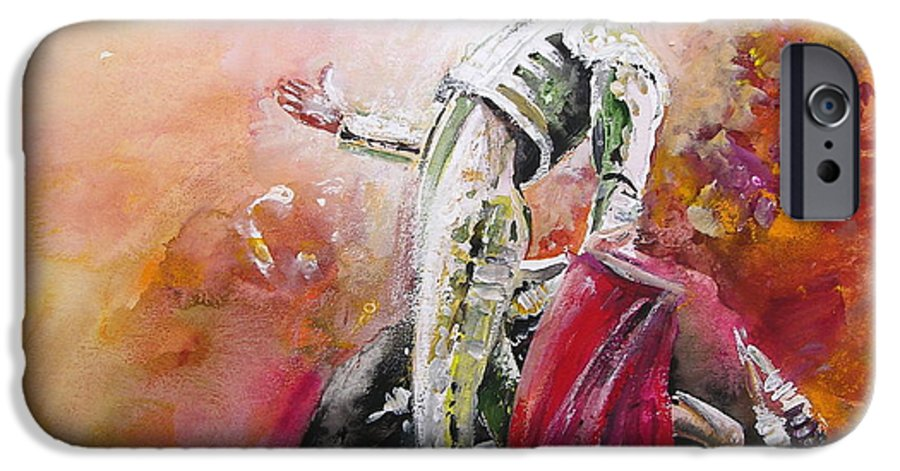 Animals IPhone 6 Case featuring the painting Bullfight 24 by Miki De Goodaboom