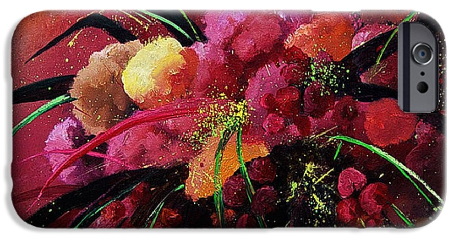 Flowers IPhone 6 Case featuring the painting Bunch Of Red Flowers by Pol Ledent