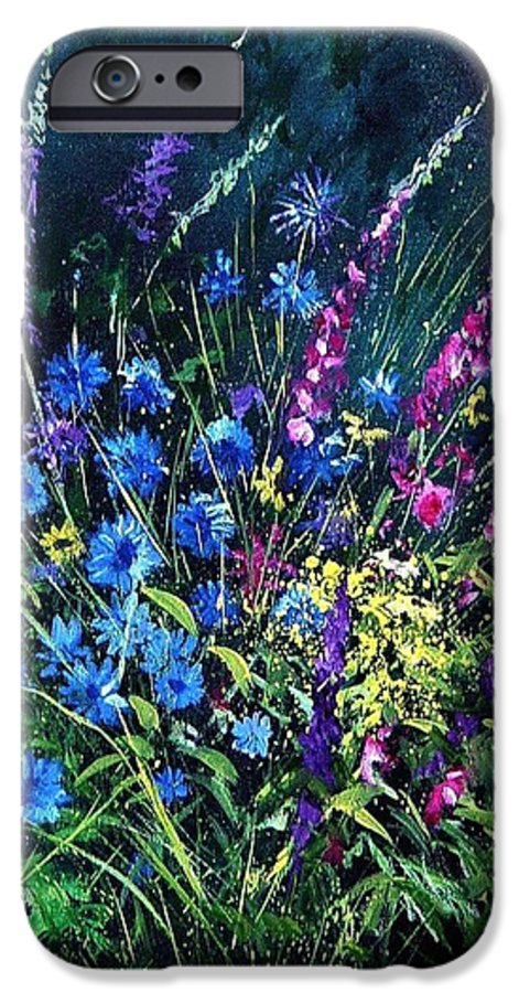 Poppies IPhone 6 Case featuring the painting Bunch Of Wild Flowers by Pol Ledent
