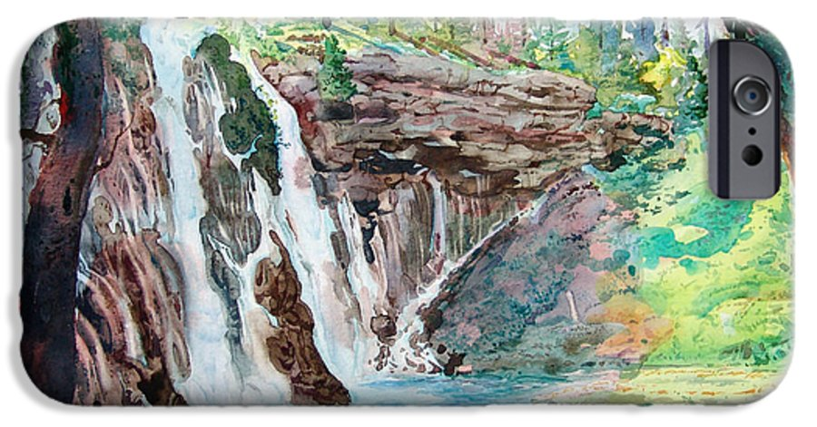 Watercolor IPhone 6 Case featuring the painting Burney Falls by John Norman Stewart