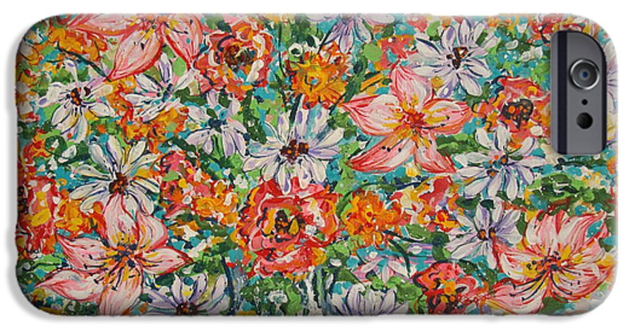 Flowers IPhone 6 Case featuring the painting Burst Of Flowers by Leonard Holland