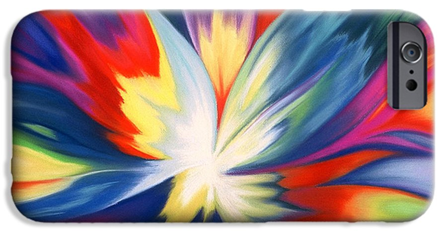 Abstract IPhone 6 Case featuring the painting Burst Of Joy by Lucy Arnold