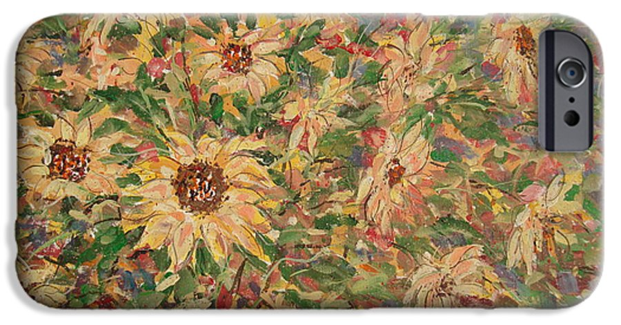Flowers IPhone 6 Case featuring the painting Burst Of Sunflowers. by Leonard Holland