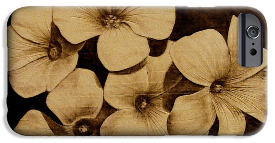 Pyrography; Sepia; Flower; Petals; Boquet; Pansy; Violet; IPhone 6 Case featuring the pyrography Bursting by Jo Schwartz
