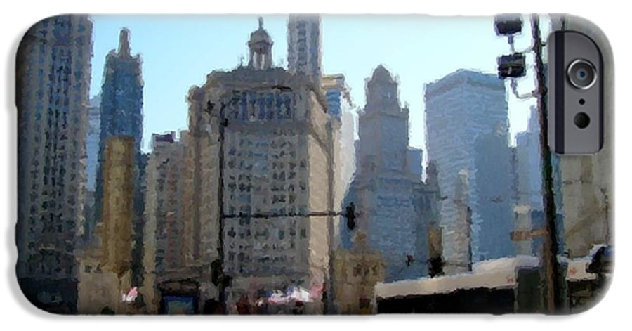 Archtecture IPhone 6 Case featuring the digital art Bus On Miracle Mile by Anita Burgermeister