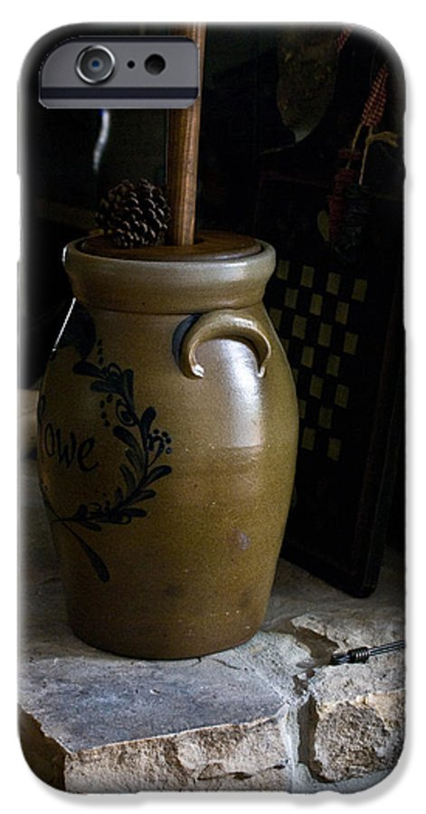 Butter IPhone 6 Case featuring the photograph Butter Churn On Hearth Still Life by Douglas Barnett