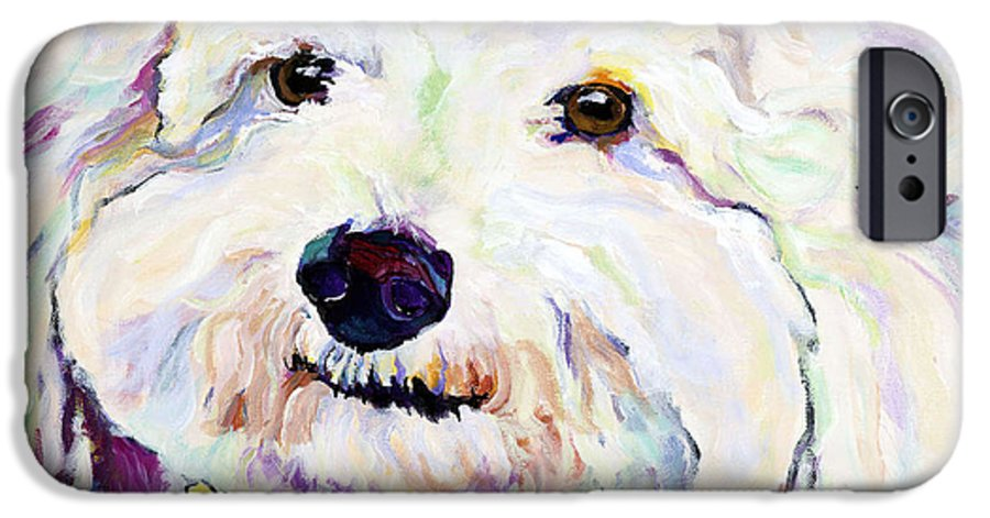 Bischon IPhone 6 Case featuring the painting Buttons  by Pat Saunders-White