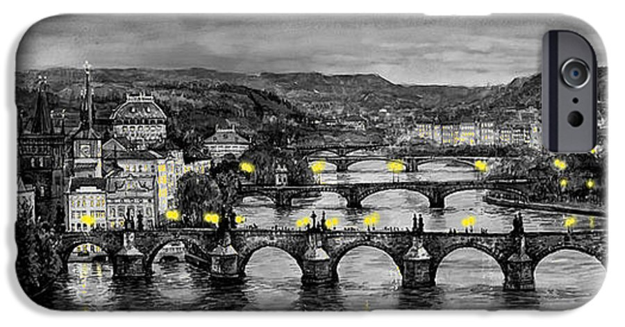 Prague IPhone 6 Case featuring the painting Bw Prague Bridges by Yuriy Shevchuk