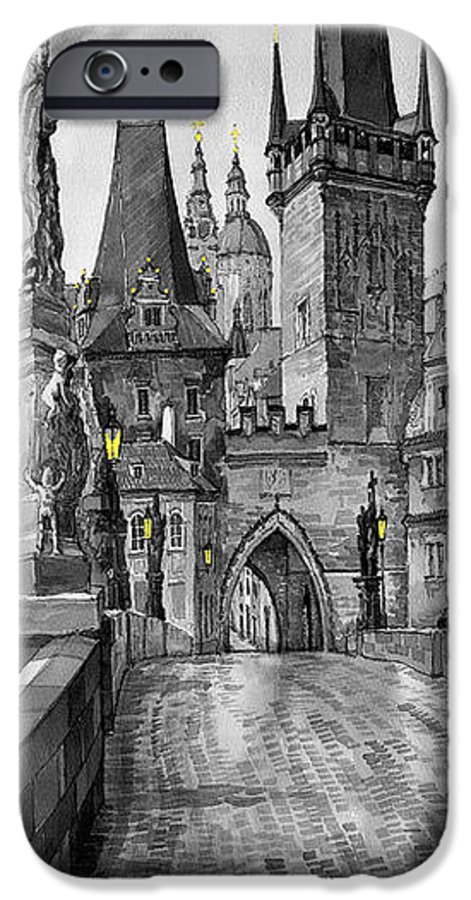 Prague IPhone 6 Case featuring the painting Bw Prague Charles Bridge 02 by Yuriy Shevchuk