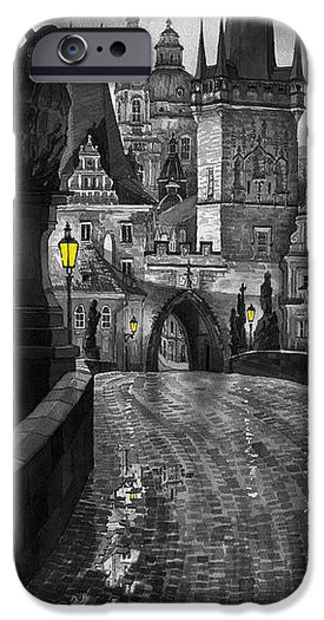 Prague IPhone 6 Case featuring the painting Bw Prague Charles Bridge 03 by Yuriy Shevchuk