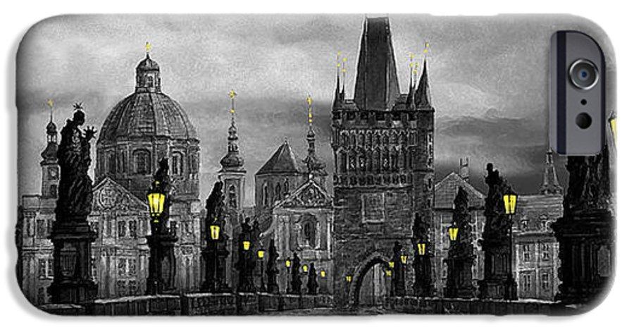 Prague IPhone 6 Case featuring the painting Bw Prague Charles Bridge 04 by Yuriy Shevchuk