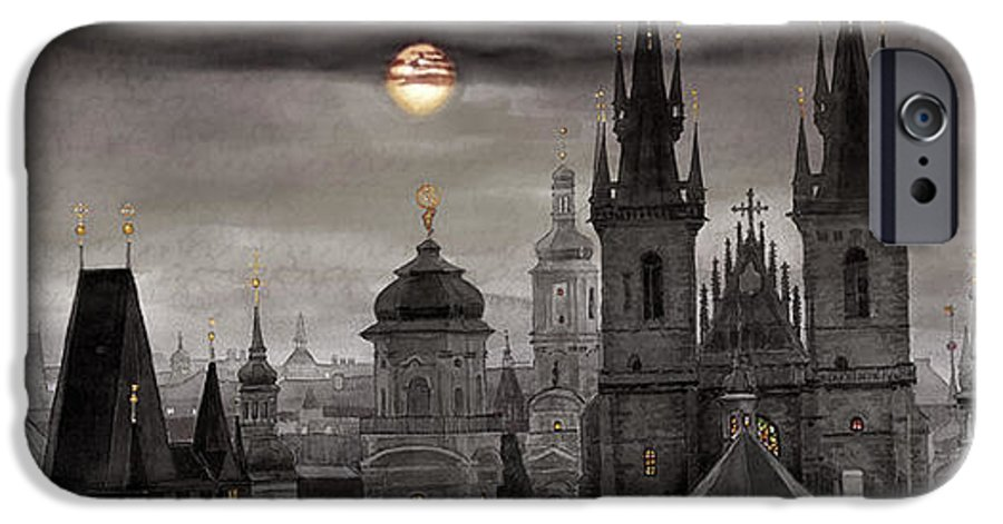 Cityscape IPhone 6 Case featuring the painting Bw Prague City Of Hundres Spiers by Yuriy Shevchuk