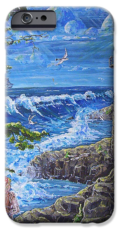 Seascape IPhone 6 Case featuring the painting By The Sea by Phyllis Mae Richardson Fisher
