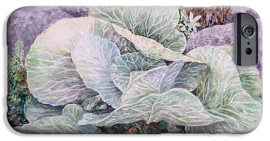 Leaves IPhone 6 Case featuring the painting Cabbage Head by Valerie Meotti