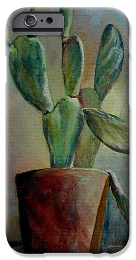 Flower IPhone 6 Case featuring the painting Cactus 1 by Muriel Dolemieux
