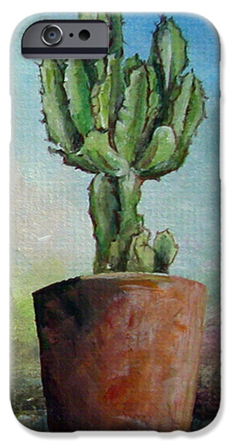 Flower IPhone 6 Case featuring the painting Cactus 3 by Muriel Dolemieux