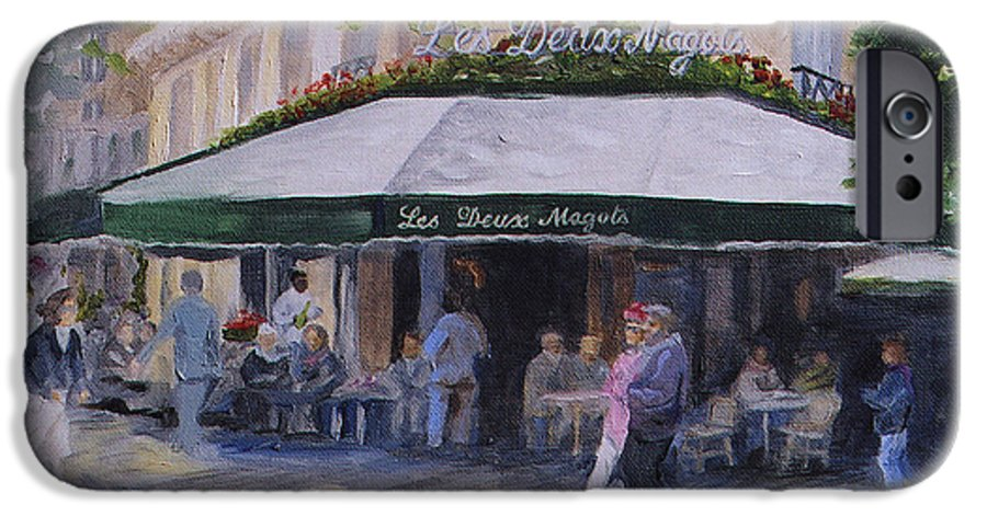 Cafe Magots IPhone 6 Case featuring the painting Cafe Magots by Jay Johnson