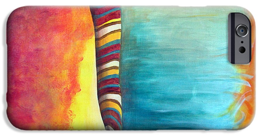 Abstract IPhone 6 Case featuring the painting Cafe by Muriel Dolemieux
