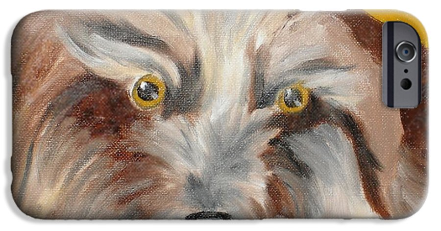 Dog IPhone 6 Case featuring the painting Cairn Terrier by Susan Kubes