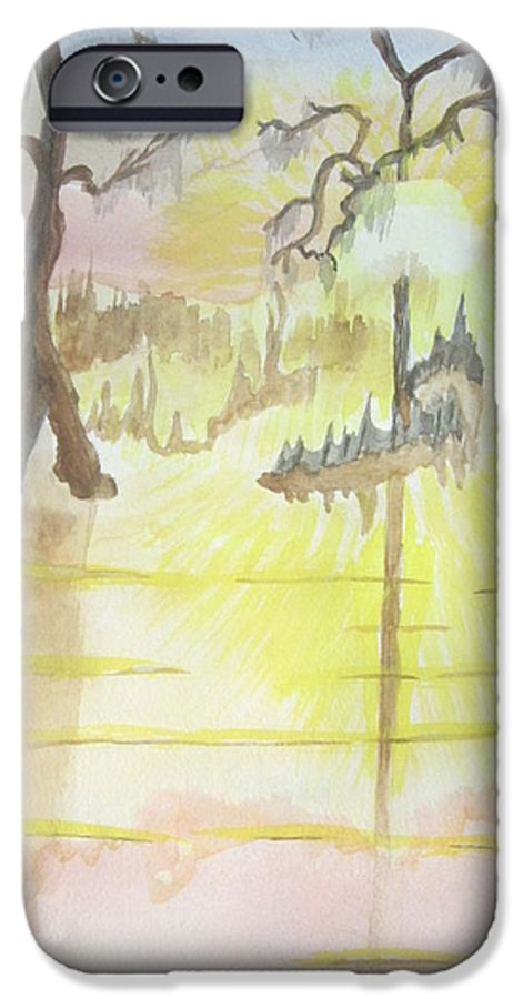 Landscape Watercolor IPhone 6 Case featuring the painting Cajun Sunrise by Warren Thompson