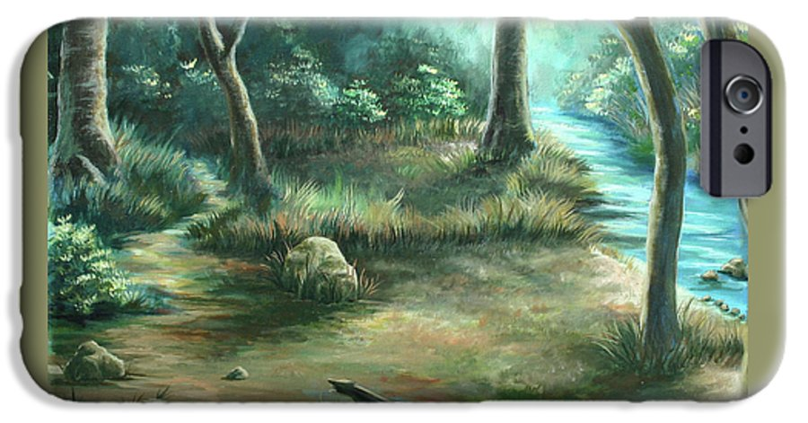 Landscape IPhone 6 Case featuring the painting Camping At Figueroa Mountains by Jennifer McDuffie