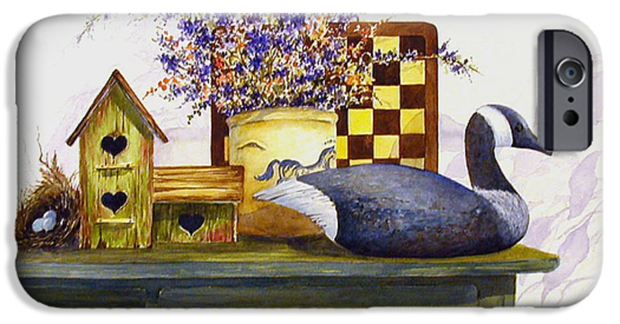 Canada Goose;birdhouse;bird Nest;crock;checkerboard;still Life;country Still Life; IPhone 6 Case featuring the painting Canada And Checkerboard by Lois Mountz