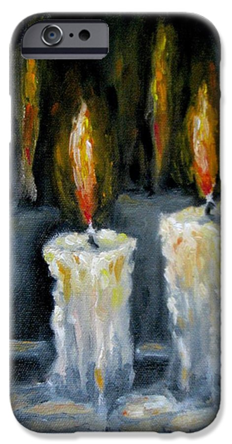Candles IPhone 6 Case featuring the painting Candles Oil Painting by Natalja Picugina