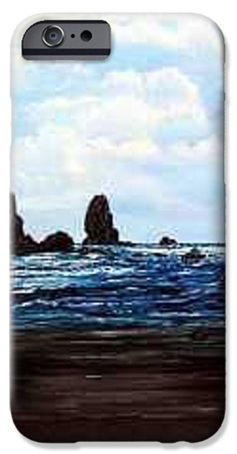 This Is Cannon Beach Oregon. This Painting Is Framed In A Lovely Gold Tone Frame. IPhone 6 Case featuring the painting Cannon Beach by Darla Boljat