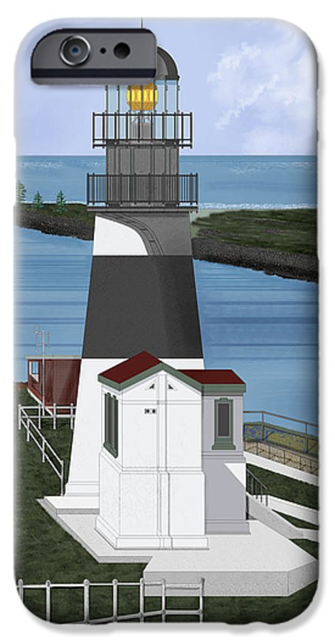 Lighthouse IPhone 6 Case featuring the painting Cape Disappointment At Fort Canby Washington by Anne Norskog
