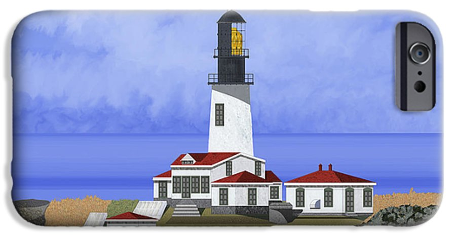 Seascape IPhone 6 Case featuring the painting Cape Flattery Lighthouse On Tatoosh Island by Anne Norskog
