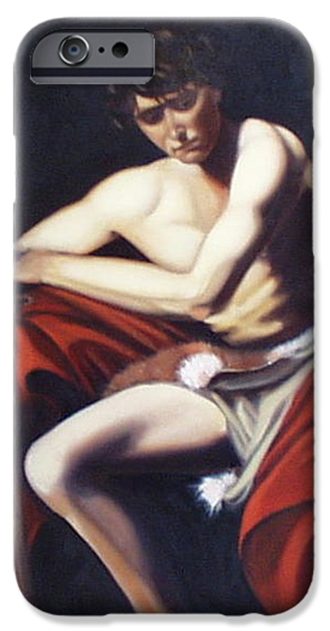 Caravaggio IPhone 6 Case featuring the painting Caravaggio's John The Baptist Study by Toni Berry