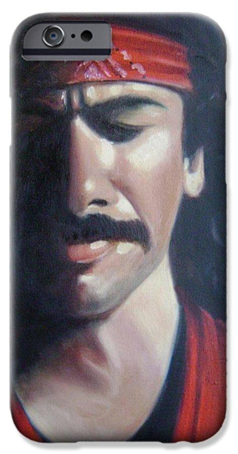 Santana IPhone 6 Case featuring the painting Carlos Santana by Toni Berry