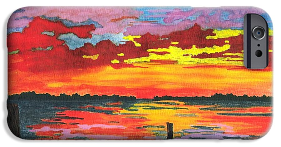 Original Painting IPhone 6 Case featuring the painting Carolina Sunset by Patricia Griffin Brett