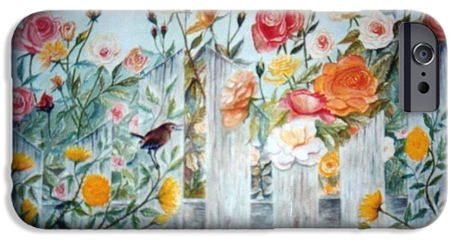 Roses; Flowers; Sc Wren IPhone 6 Case featuring the painting Carolina Wren And Roses by Ben Kiger