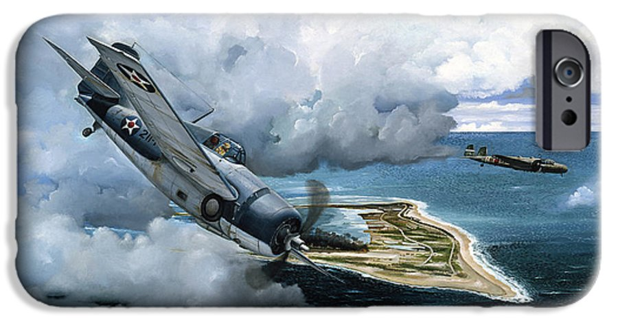 Military IPhone 6 Case featuring the painting Cat And Mouse Over Wake by Marc Stewart