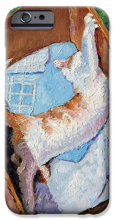 Kitten IPhone 6 Case featuring the painting Cat In A Box by John Lautermilch